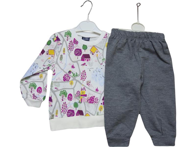 18243 wholesale children's two-piece suit,blouse long sleeves and print+pants, for girls 9-12-18-24 months