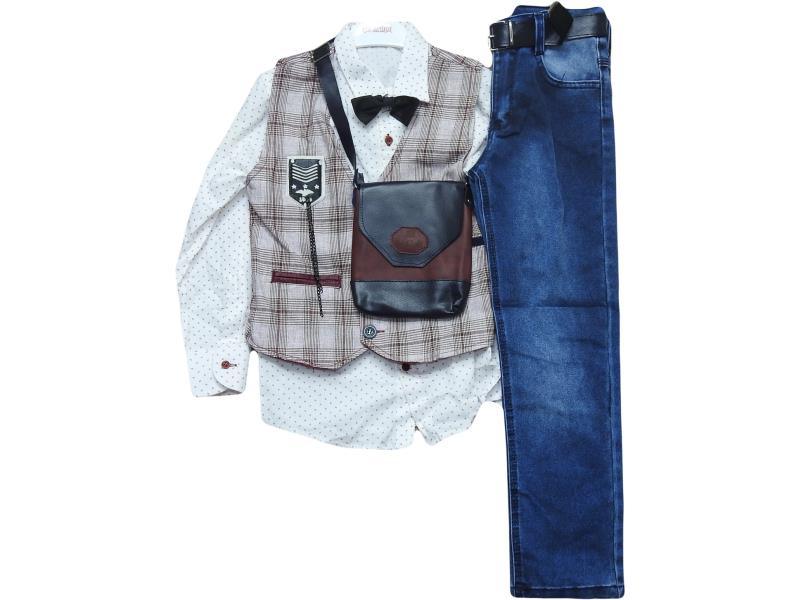 9606 wholesale children's elegant three-piece suit with handbag, for boys 6-7-8-9 years