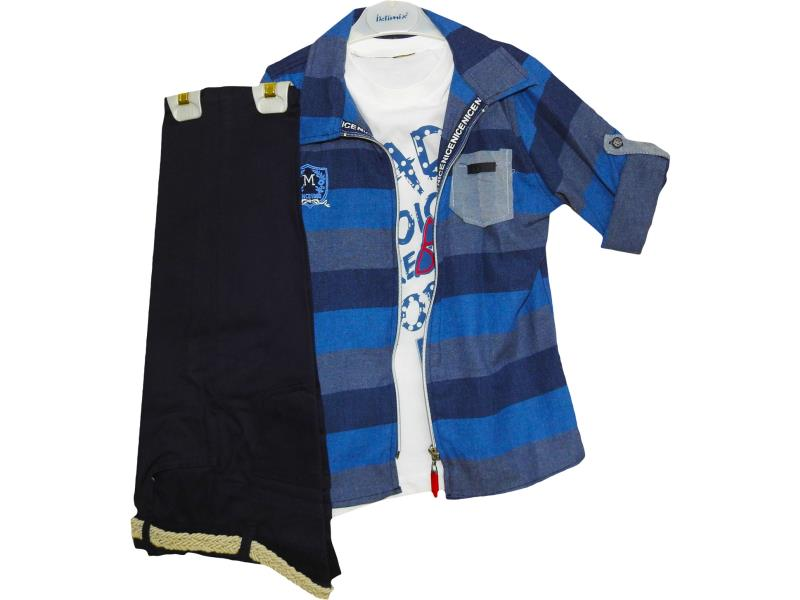 2021 wholesale children's three-piece suit, striped shirt+t-shirt+pants, for boys 5-6-7-8 years