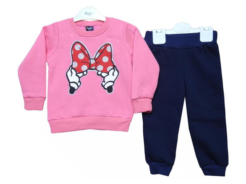 3027 tracksuit for girl kids winter season ribbon print 1-2-3 age