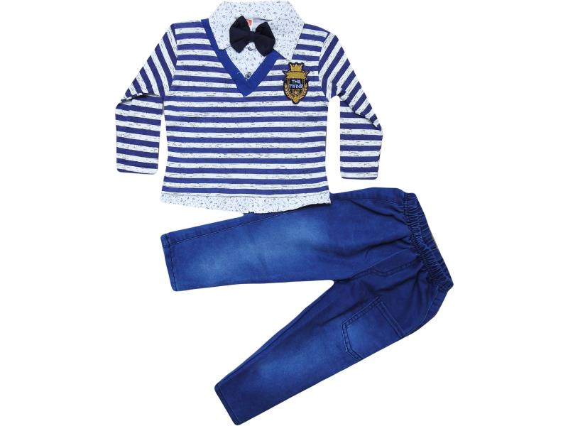 404 wholesale child costume pair with jacket trompe l'oeil stripes,for boys in 1-2-3 years