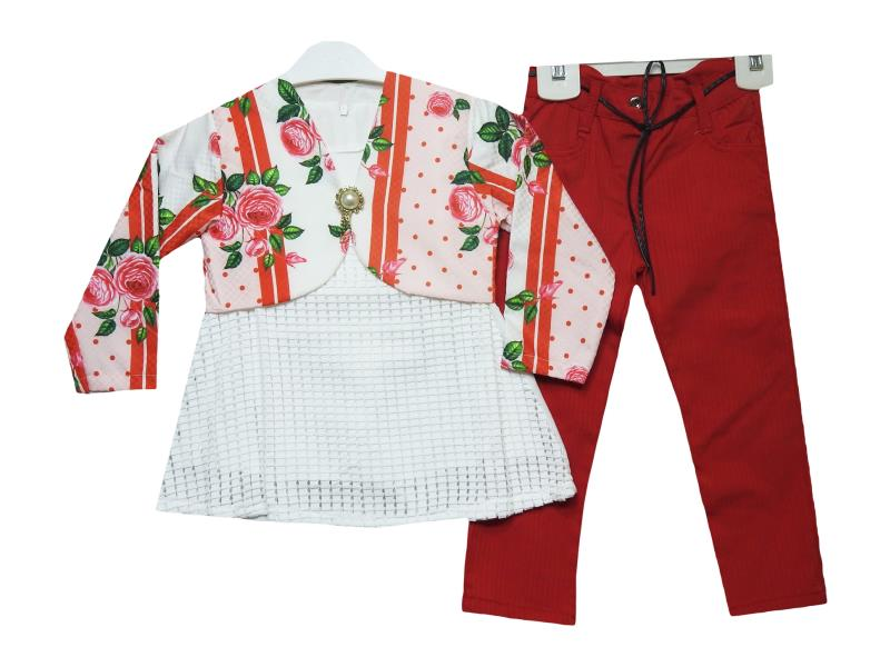 201 double set for girls rose printed 2-3-4 age