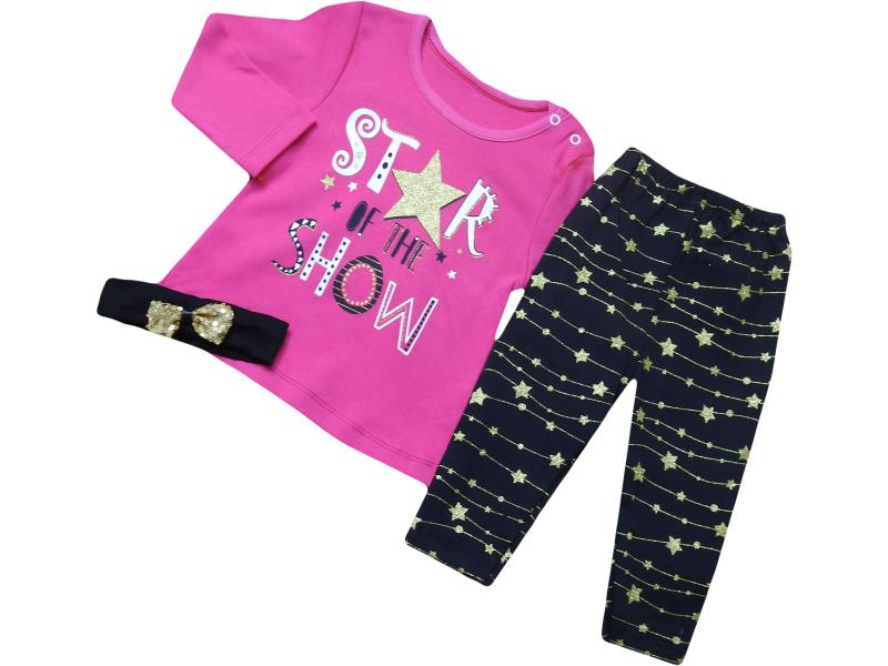 1838 wholesale children's two-piece suit with star of the show print,for girls 9-12-18 months