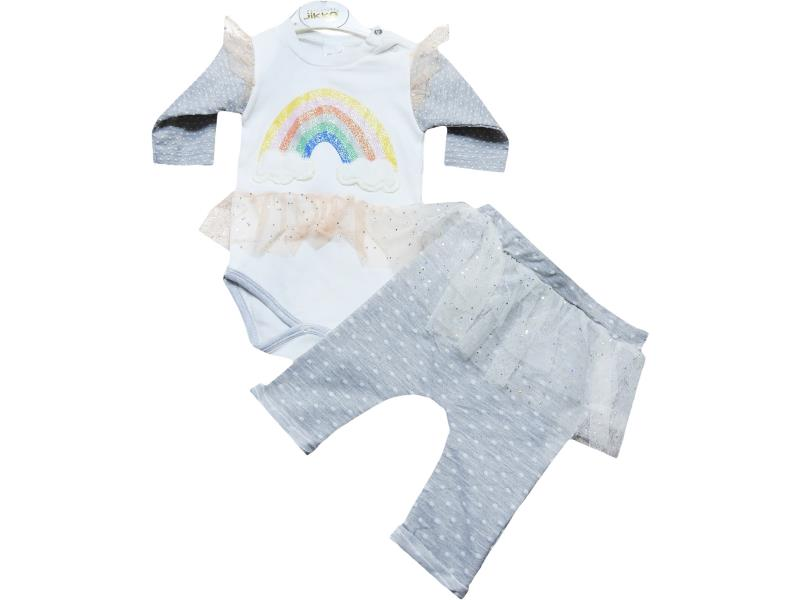 1054 wholesale set for baby girls, bodysuit with buttons+striped pants, for babies 3-6-9 months