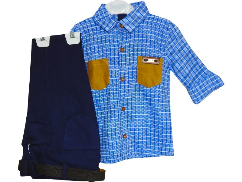 M-8269 kids boys clothing suit with trouser and shirt for 1-2-3-4 age