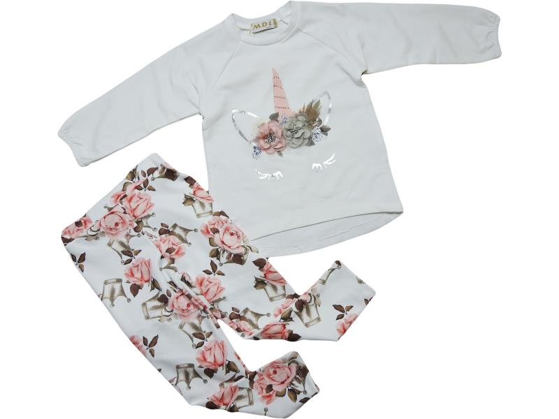 1604 Kids Baby Girl Set clothing top body and floral print pant 2-3-4 age