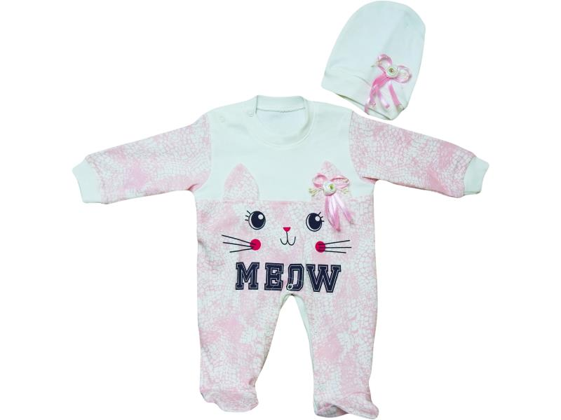 1170 wholesale meow printed overalls set for girl babies 3-6-9-12 month