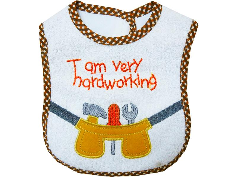 2015 6 tracks  i am very hardworking embroidered apron for babies