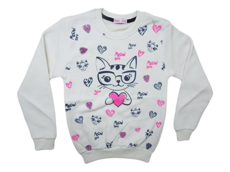 8001 Wholesale cheap and quality CAT printed sweater for girl children  6-7-8-9-10 age
