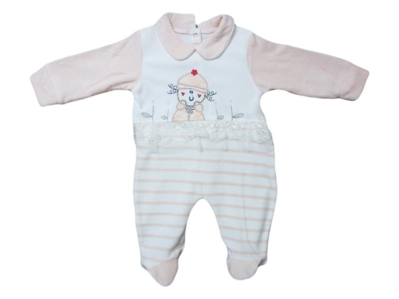 1565 Wholesale quality and velvet detailed 'small girl' embroidered overalls for girl babies 3-6-9 month