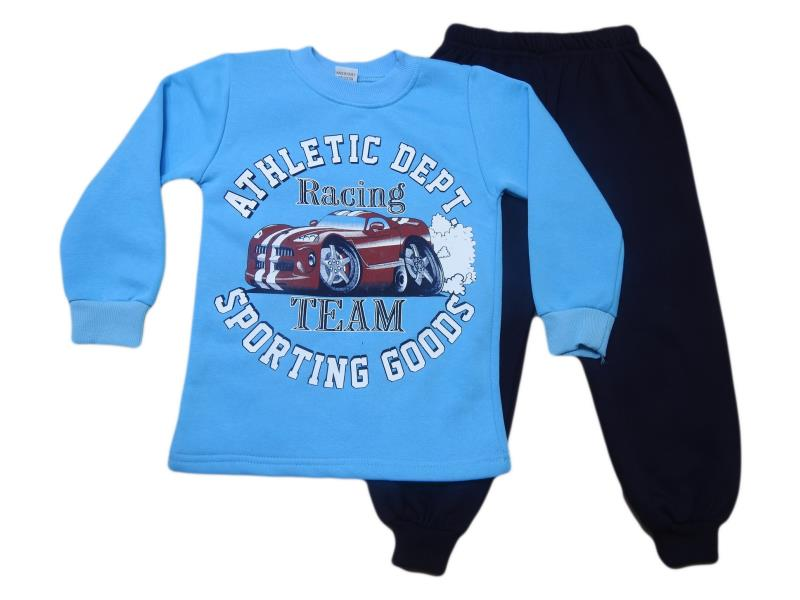 908 Wholesale cheap and quality RACİNG TEAM printed two piece set for boy babies  5-6-7-8 age