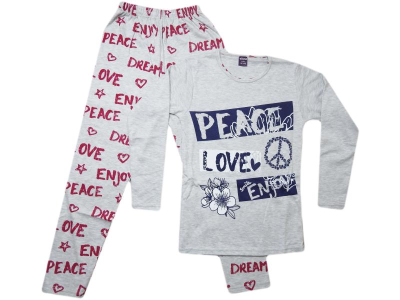 755 Wholesale cheap and quality Peace love enjoy printed tracksuits for girl children 10-11-12 age