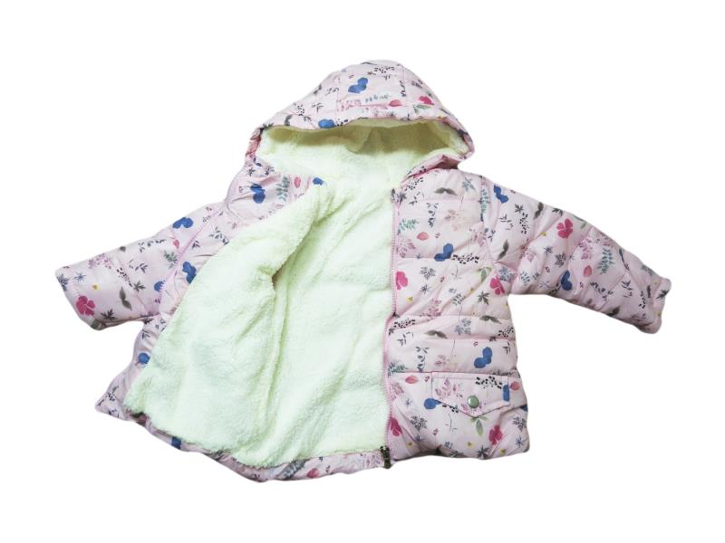 9039 Wholesale quality and cheap wool detailed rose printed coat for girl babies  9-12-18-24 month