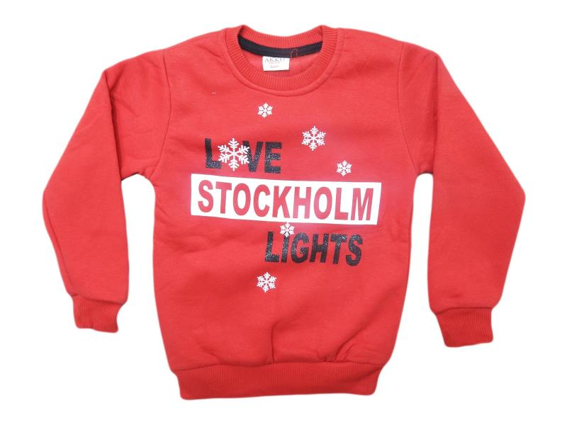 8142 çocuk sweat love stockholm lights baskı 2-3-4-5-6 yaş