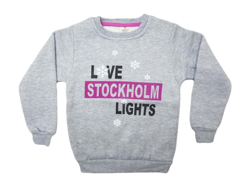 8142 Wholesale cheap and quality seasonal STOCKHOLM LİGHTS printed sweatshirt for girl  chilren 7-8-9-10-11 age