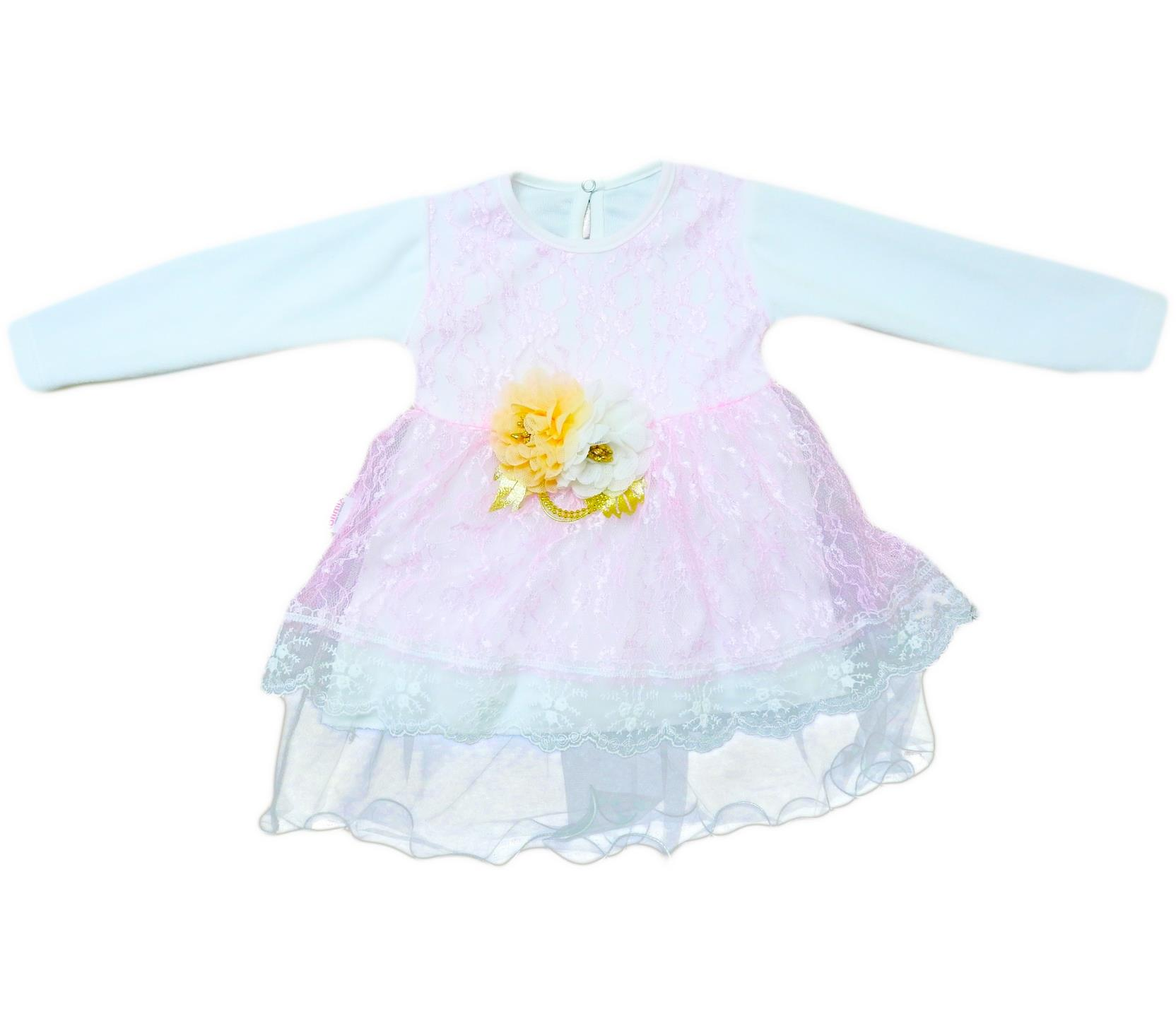 735 Wholesale lance and velvet detailed drees for girl babies  6-12-18 month