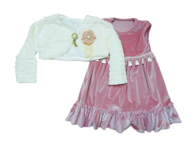 465 Two piece velvet detailed dress for girl babies  2-3-4-5 age