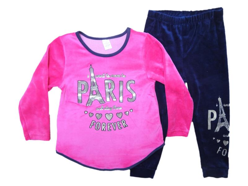 7108  Two piece velvet detailed and 'paris' printed set for girl babies 1-2-3-4 age