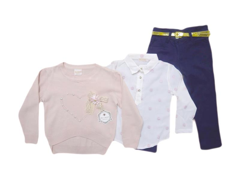 1890 wholesale quality triple piece sweater for girl babies 1-2-3-4 age