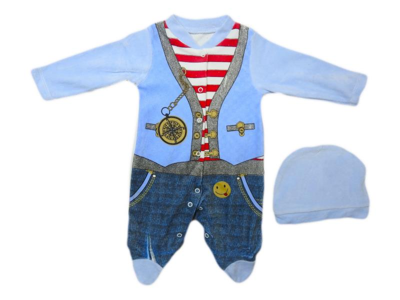 3501 Wholesale quality and cheap velvet detailed overalls for boy babies  3-6-9 month