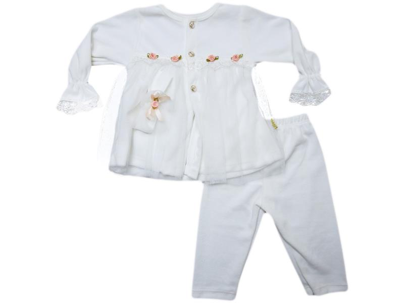 502 Wholesale quality and cheap velvet detailed rose printed set for girl babies 6-9 month