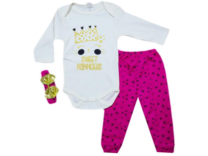 597 Two piece 'sweet princess' printed sey for girl babies  6-9-12 month
