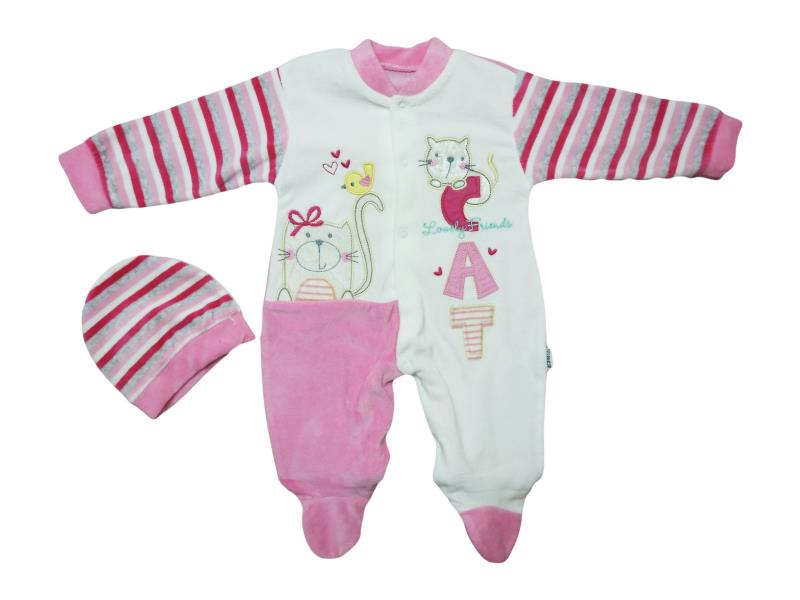 4714  Wholesale quality and cheap velvet detailed cat printed overalls for girl babies 0-3-6 month