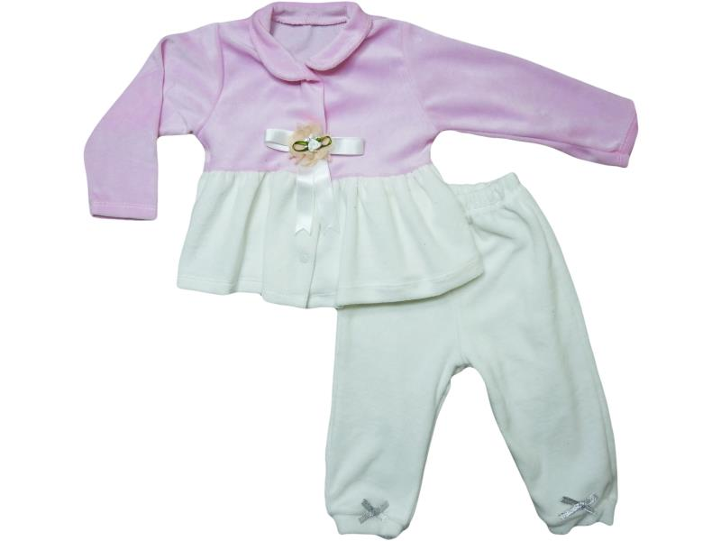 306 Wholesale good quality and cheap two piece velvet detail set for girl child 6-9-12-18 month