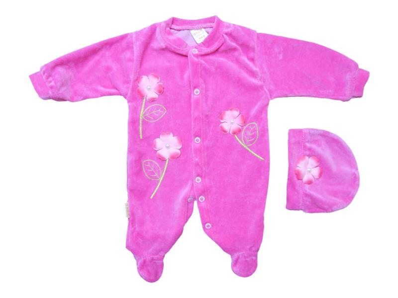 968 Wholesale velvet detailed flower embroidered overalls for babies 0-3-6 month