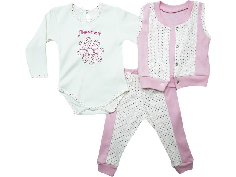 0369-12 Three-piece floral printed and vest detailed set for babies 3-6-9 month