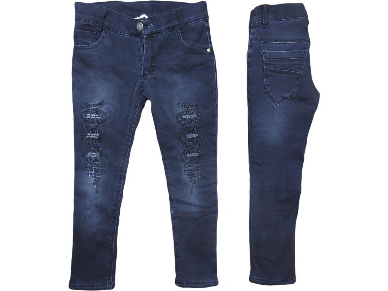 8845 wholesale good quality and cheap jeans detailed pants for girl child  5-6-7-8 age