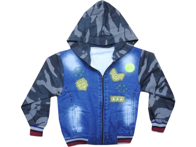 K-072 Wholesale jeans detailed coat for children 7-8-9-10 age