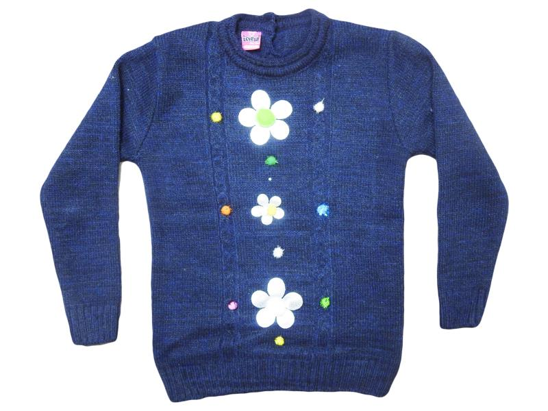 1009 Wholesale quality and cheap flower detailed sweater for girl babies 1-2-3-4 age