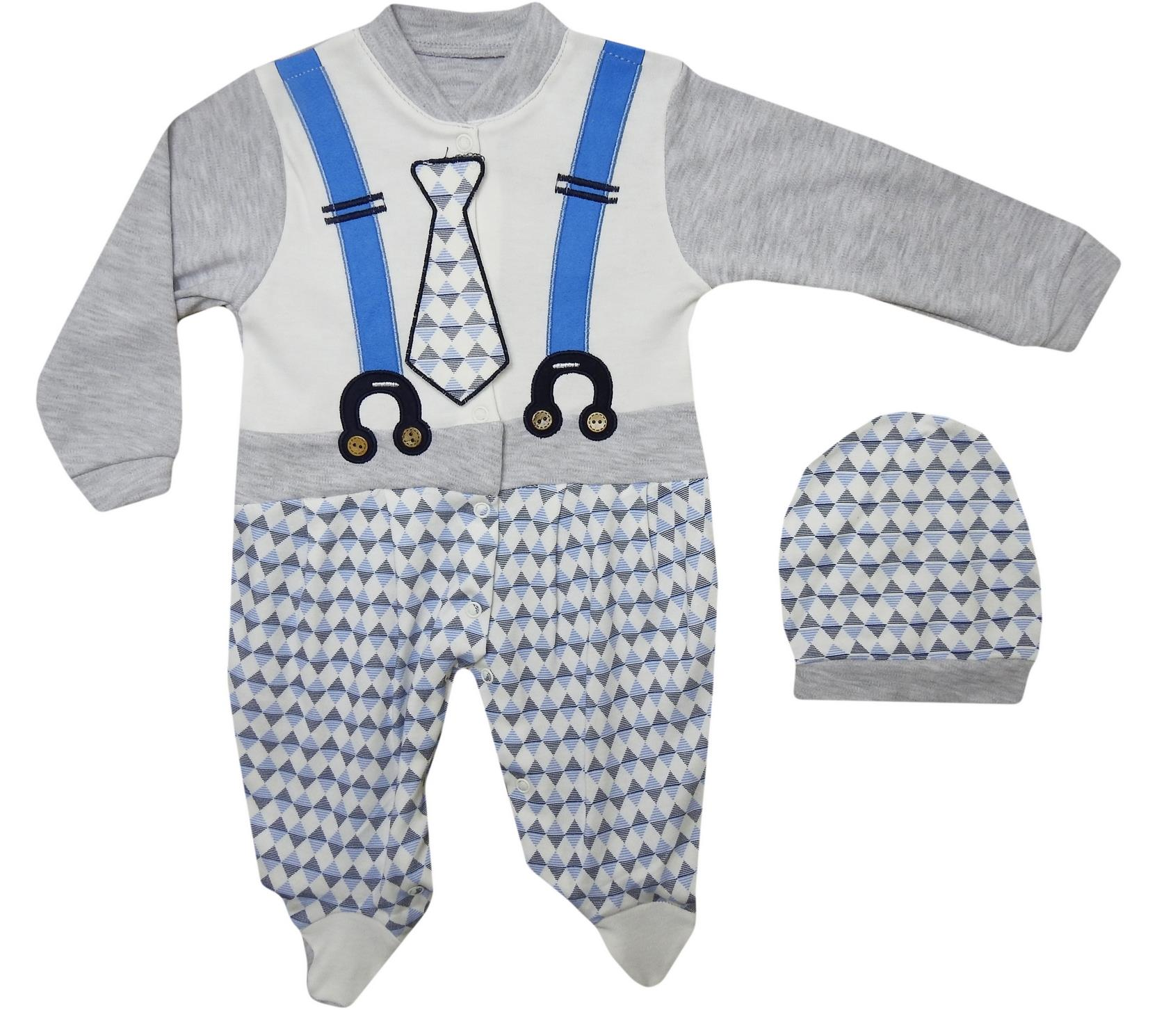 8940 Wholesale quality and cheap tie printed set for babies 3-6-9 month