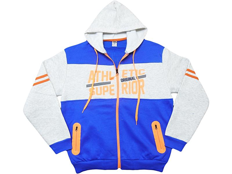 5556. Wholesale quality and cheap hooded 'athletic superior' embroidered cardigan for children 10-12-13-14-16 age