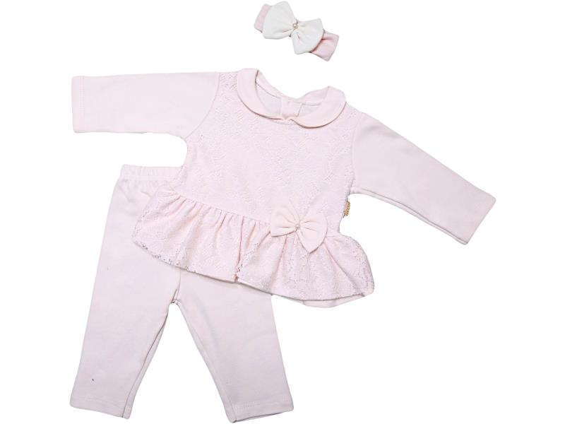 324 Wholesale quality and cheap snood detailed two piece set for babies 6-9 month