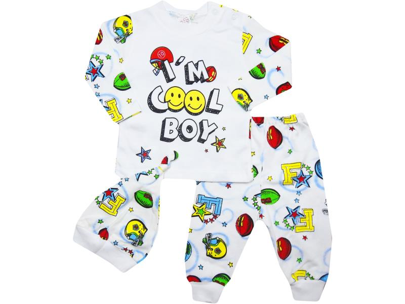 31132 Wholesale quality and cheap 'ı am cool boy ' printed set for babies 3-6-9 month