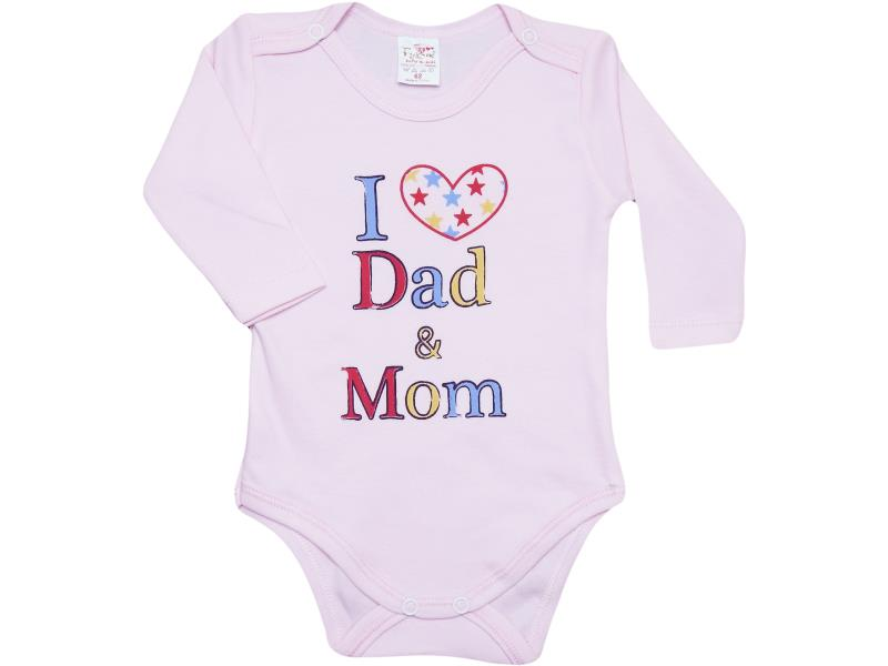 11341 bebe çıtçıtlı badi i love dad mom baskı 3-6-9-12-18 ay