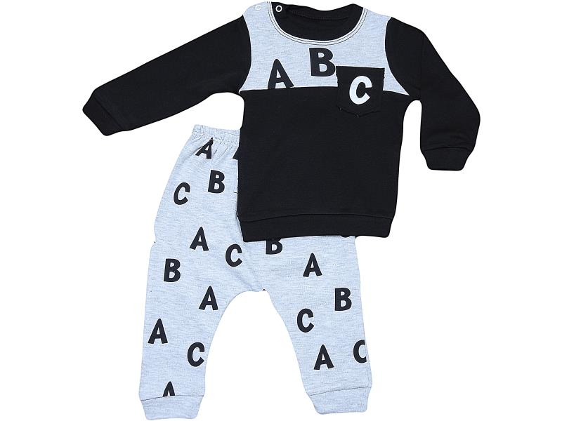 18102 wholesale quality and cheap 'abc' printed children's two piece suit for boys on 9-12-18 month