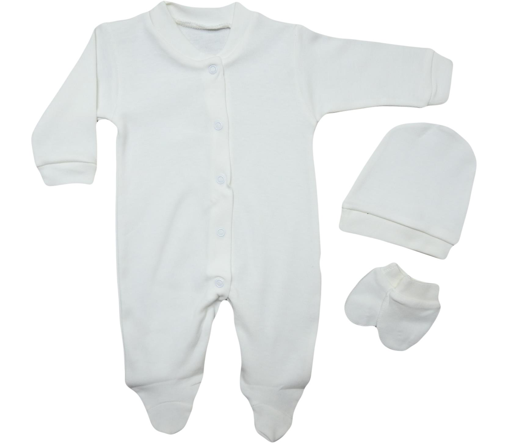 0025 wholesale baby knit rompers with hat and mittens for newborns