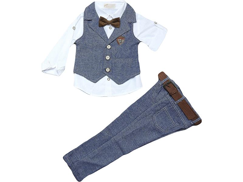 M-9244 Wholesale quality and cheap vest detailed suit set for boy children  5-6-7-8 age