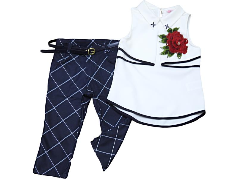 1904 Wholesale quality and cheap two piece set for girl children   6-8-10-12 age
