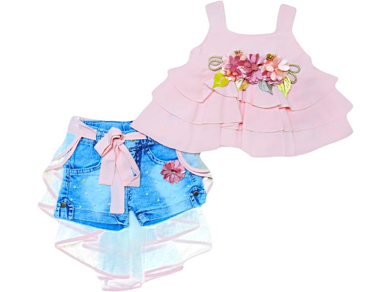1913 Wholesale quality and cheap two piece set for girl babies 2-3-4-5 age