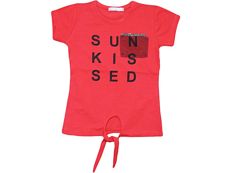 07074 Wholesale quality and cheap ' sun kissed ' printed t-shirt for girl babies 1-2-3-4 age