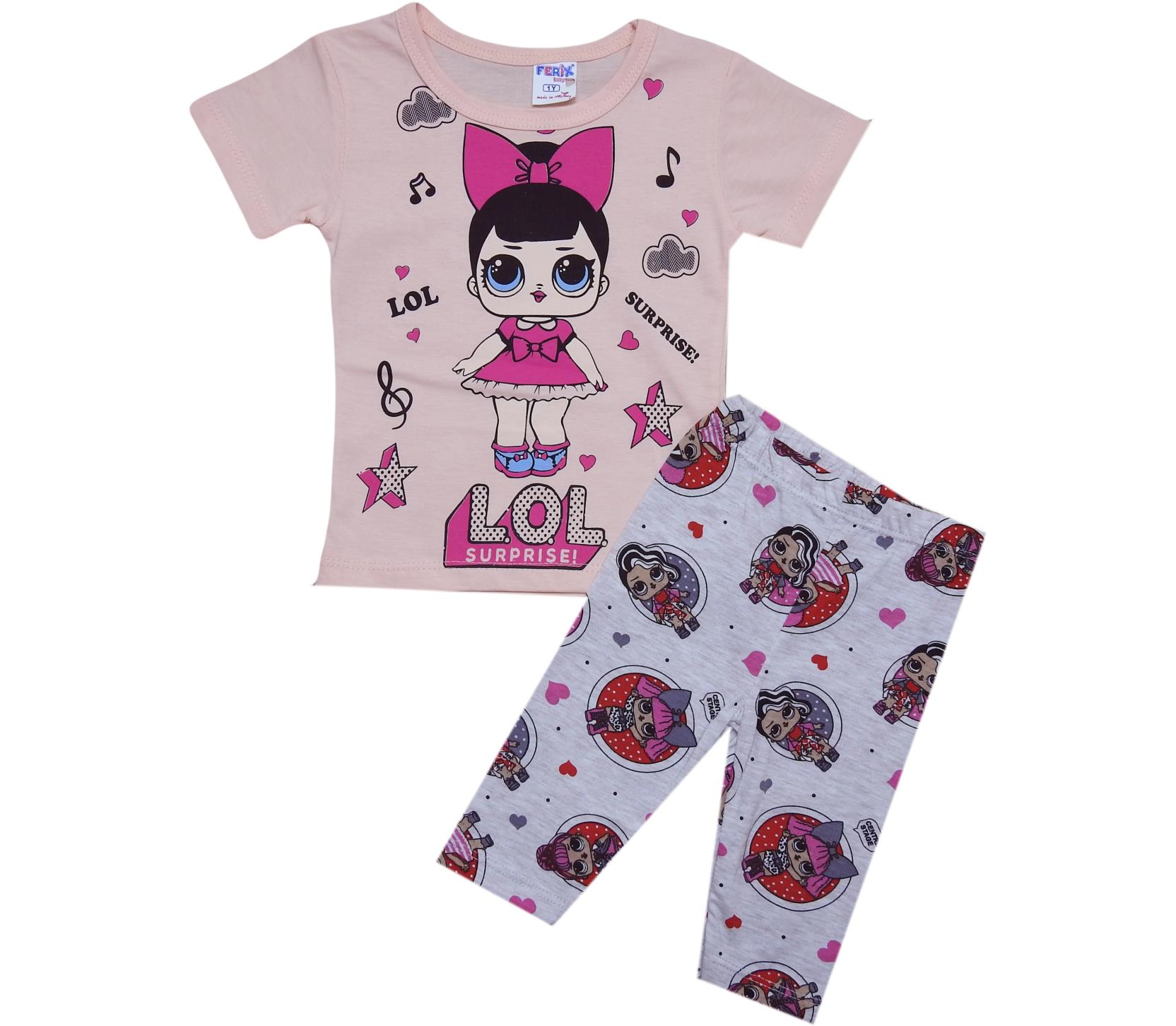 1907 wholesale children's summer suits-deuces, t-shirt with print girls + leggings for girls for 1-2-3 age