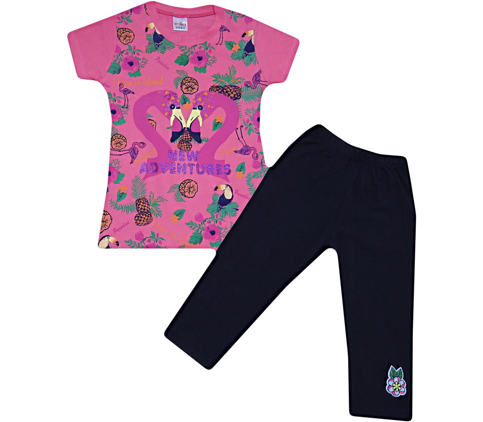 1388 wholesale quality and cheap two piece ' new adventures ' printed set for girl children 5-6-7-8 age