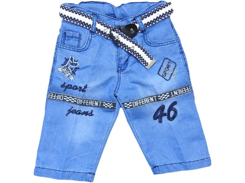 wholesale baby denim shorts long Capri with belt for boys for 8-9-10-11-12 age