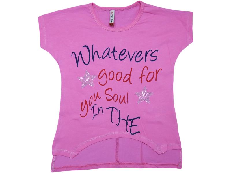"K780 wholesale children's summer tunic with print ""good for you soul"",for girls 9-10-11-12-13 age"