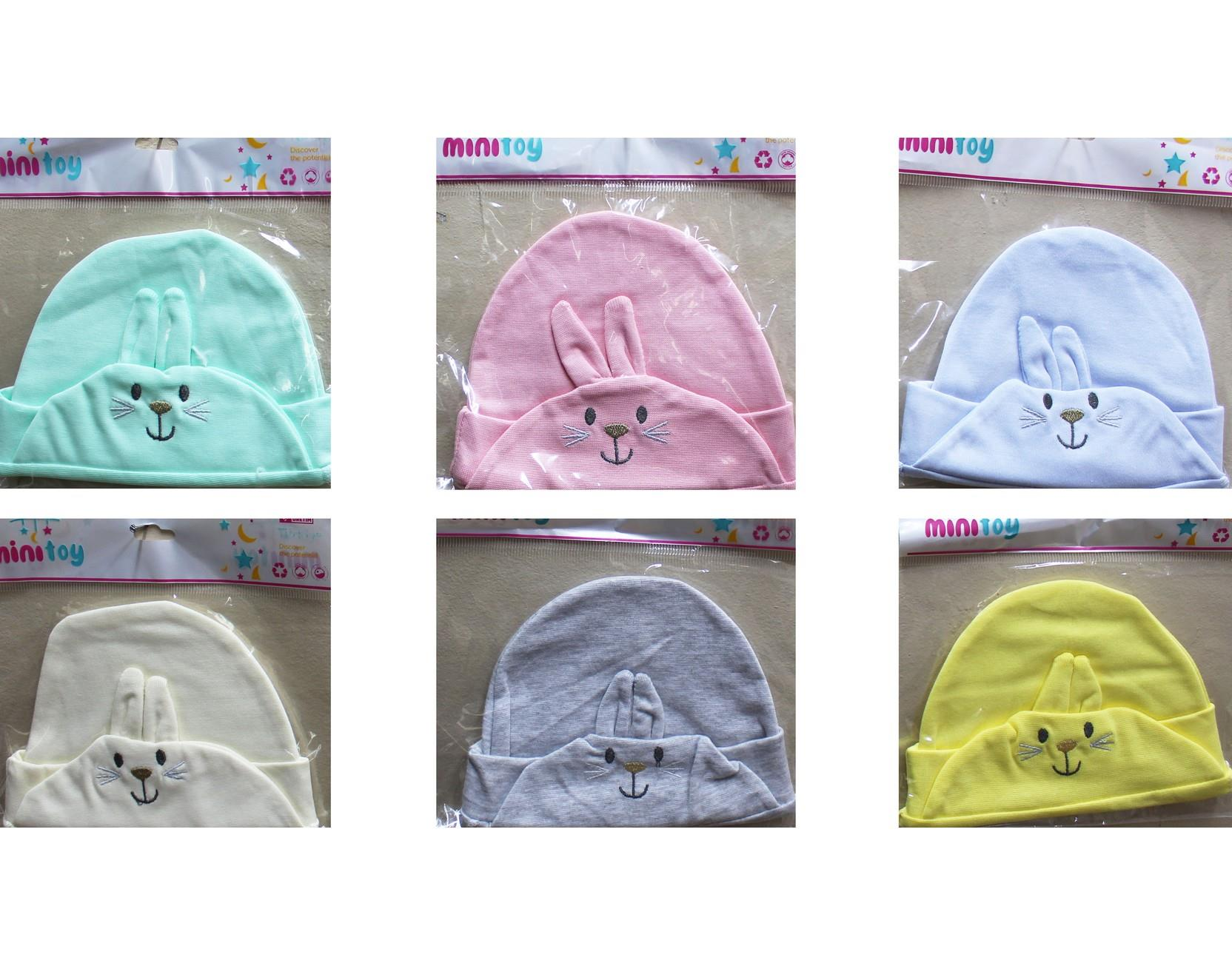 040 Wholesale hats for newborns in a pack of 12 pieces with a bunny print