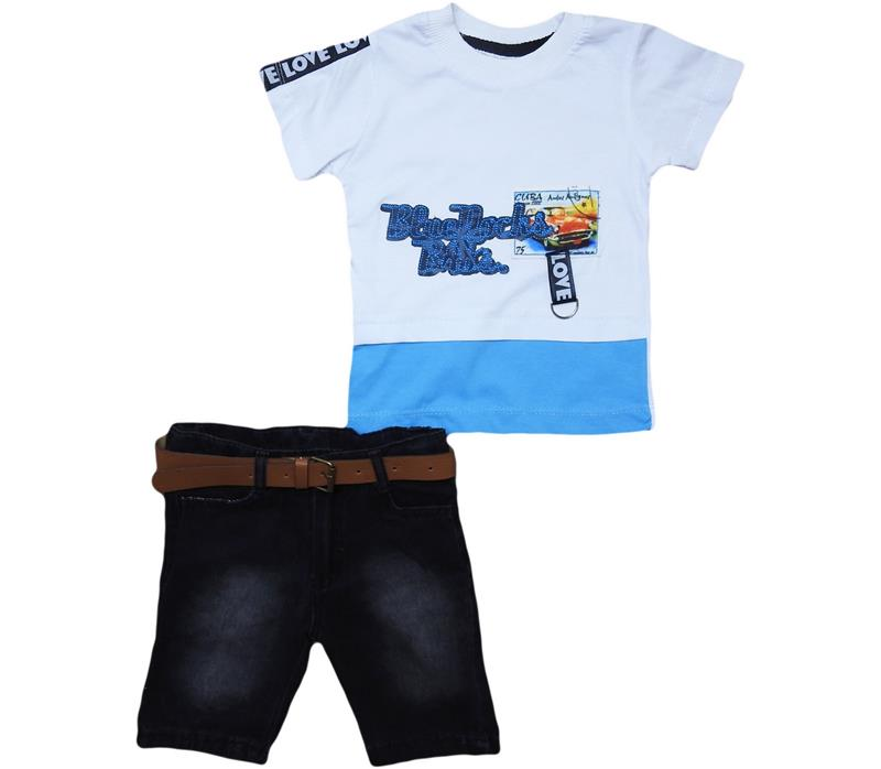 1372 wholesale children's two-piece suit,t-shirt with print+breeches,denim shorts,for boys for 1-2-3-4  age